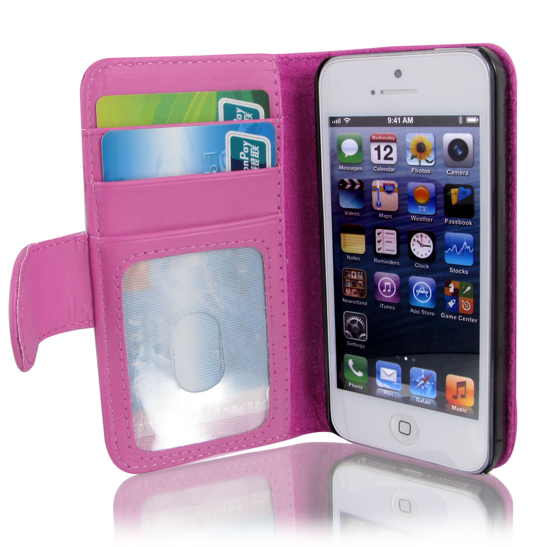 Fuchsia Faux Leather Magnetic Flip Case Cover Pouch Holder for Apple iPhone 5 5G