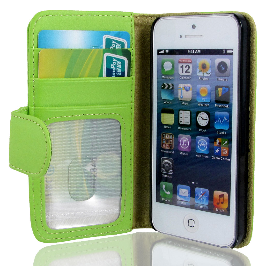 Green Faux Leather Magnetic Flip Case Cover Pouch Holder for Apple iPhone 5 5G