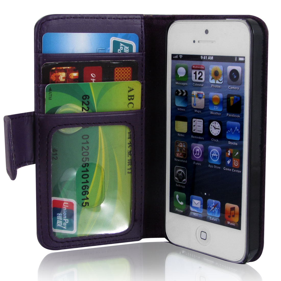 Dark Purple Faux Leather Magnetic Flip Case Cover Pouch Holder for Apple iPhone 5 5G