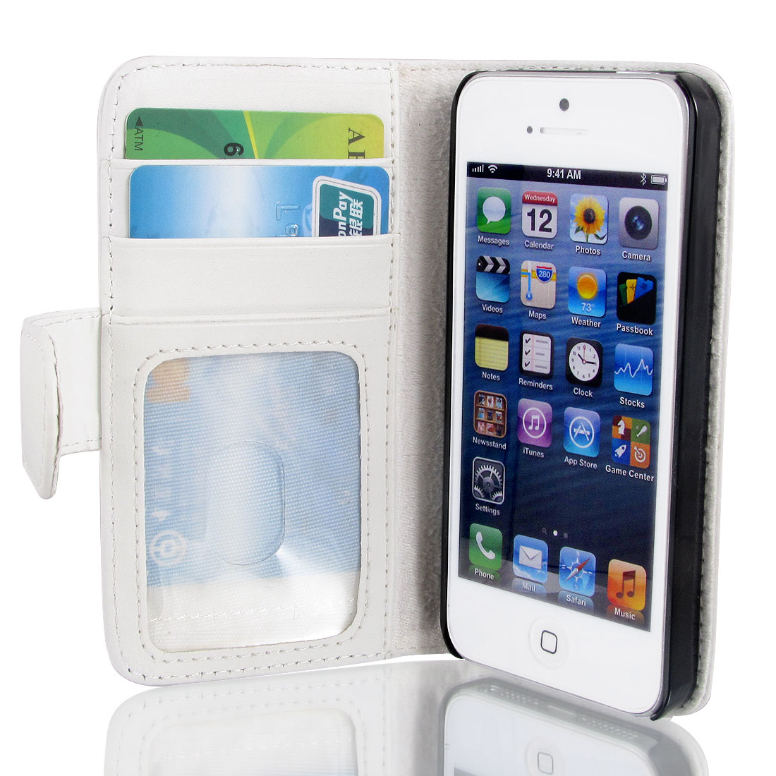 White Faux Leather Magnetic Flip Case Cover Pouch Holder for Apple iPhone 5 5G