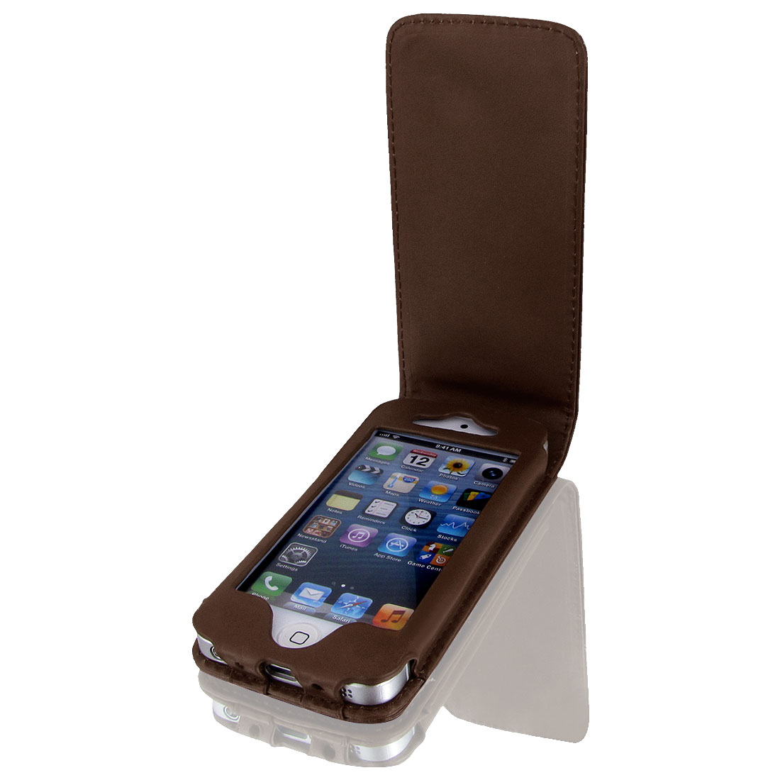 Brown Faux Leather Magnetic Flip Phone Pouch Case Cover for iPhone 5 5G 5th