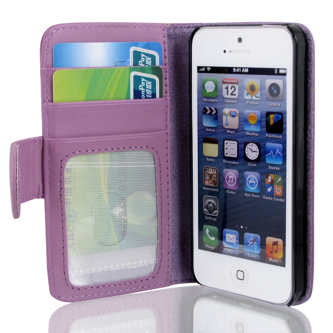 Purple Faux Leather Magnetic Flip Case Cover Pouch Holder for iPhone 5 5G 5th