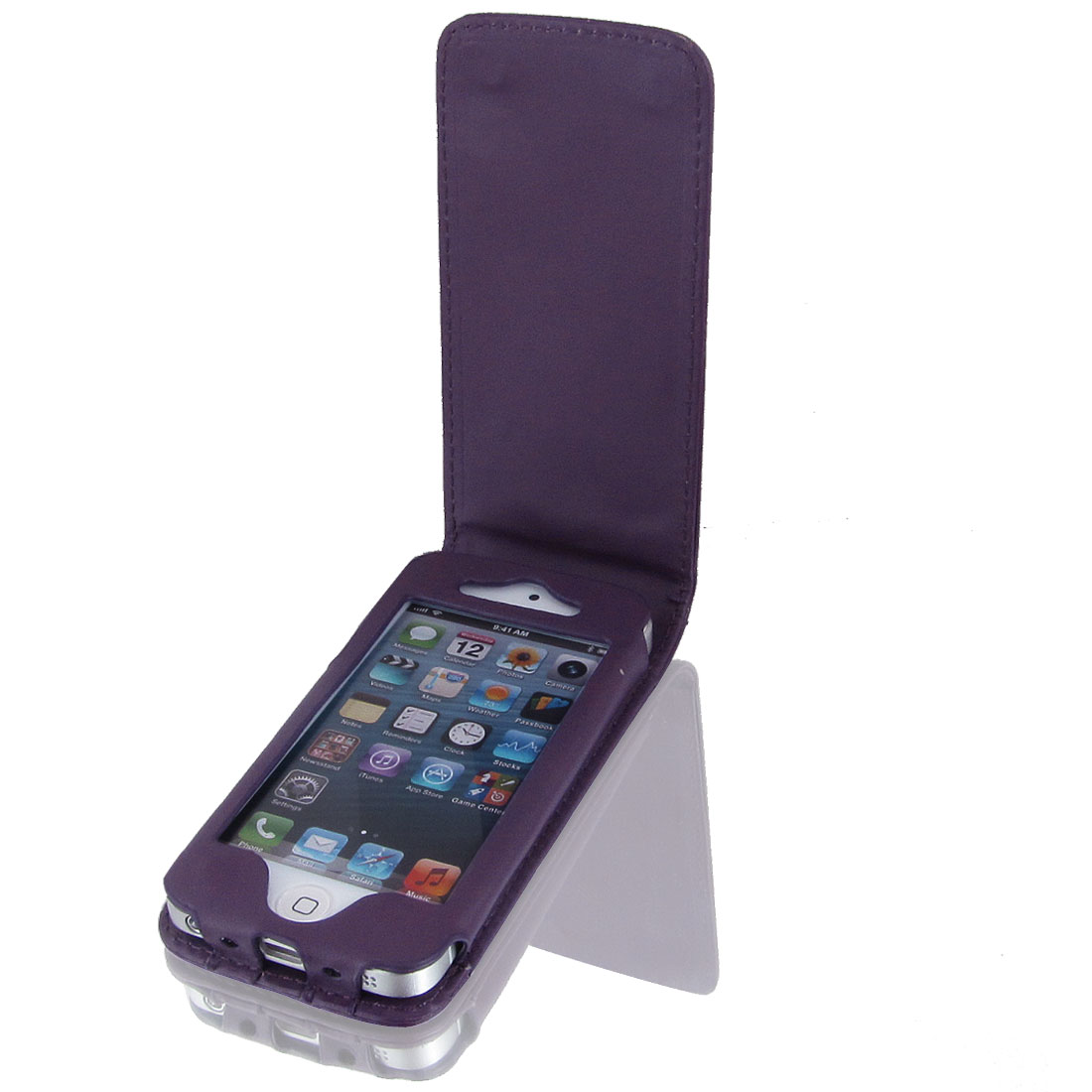Dark Purple Faux Leather Magnetic Flip Phone Pouch Case Cover for iPhone 5 5G 5th