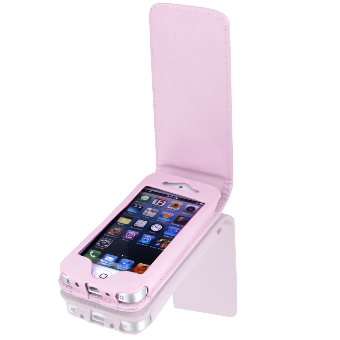 Pink Faux Leather Magnetic Flip Phone Pouch Case Cover for iPhone 5 5G 5th