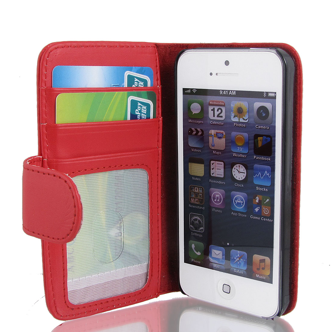 Red Faux Leather Magnetic Flip Case Cover Pouch Holder for Apple iPhone 5 5G