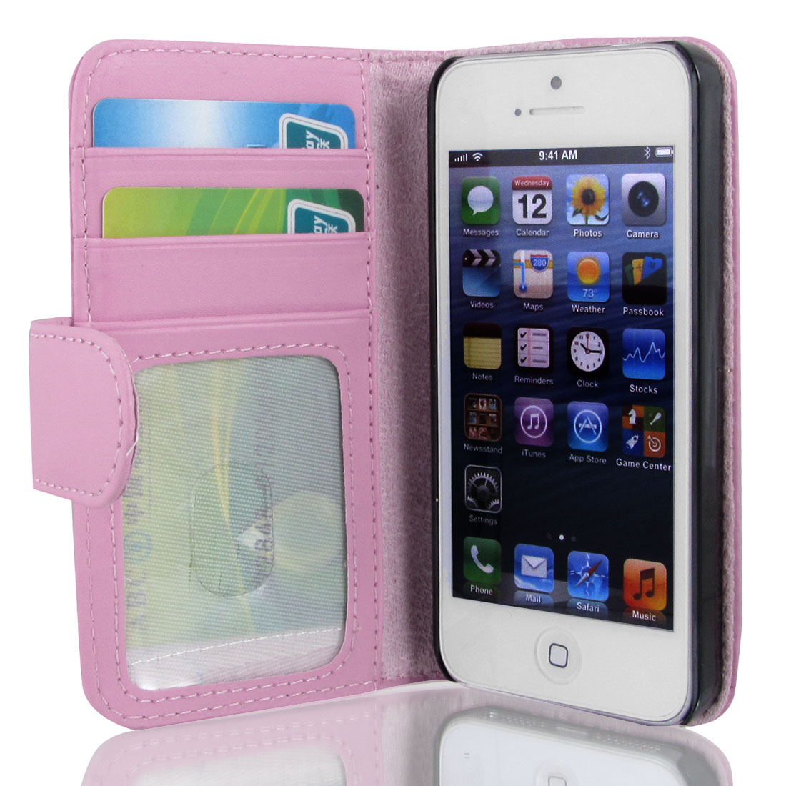 Pink Faux Leather Magnetic Flip Case Cover Pouch Holder for Apple iPhone 5 5G