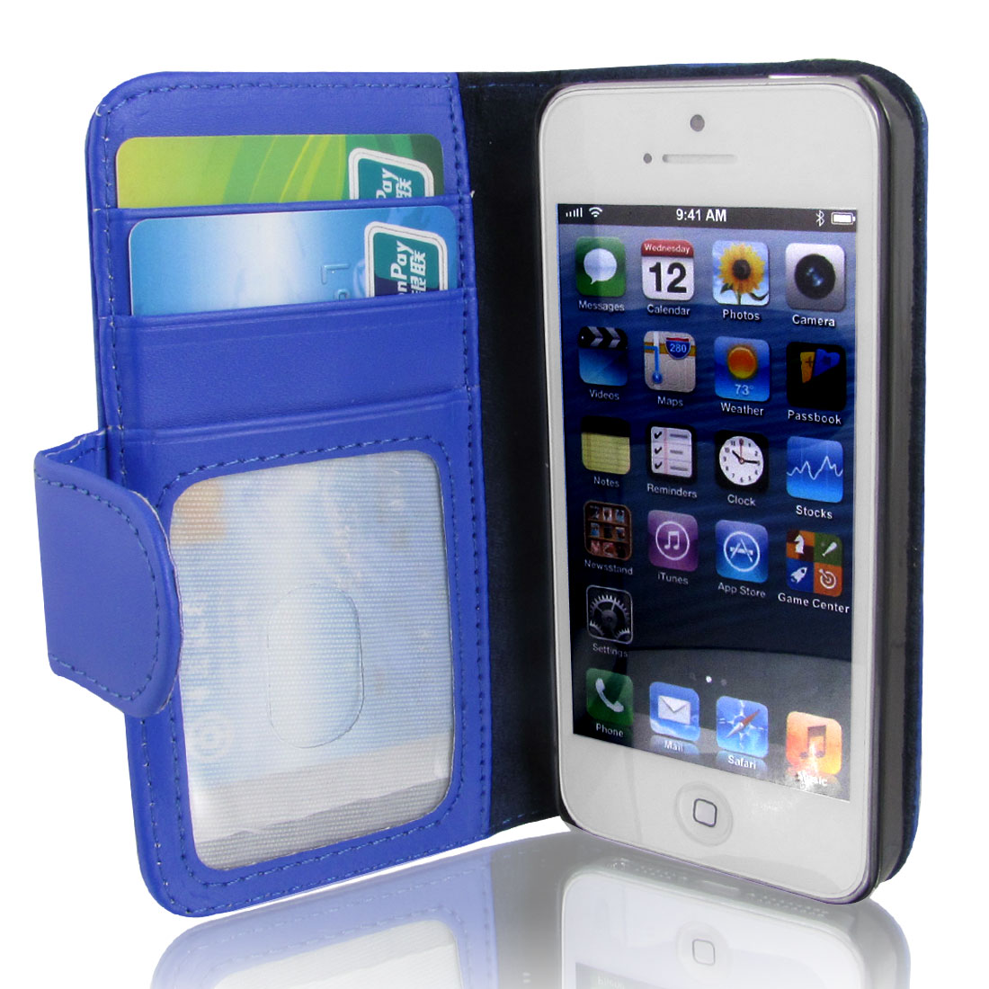 Blue Faux Leather Magnetic Flip Case Cover Pouch Holder for Apple iPhone 5 5G