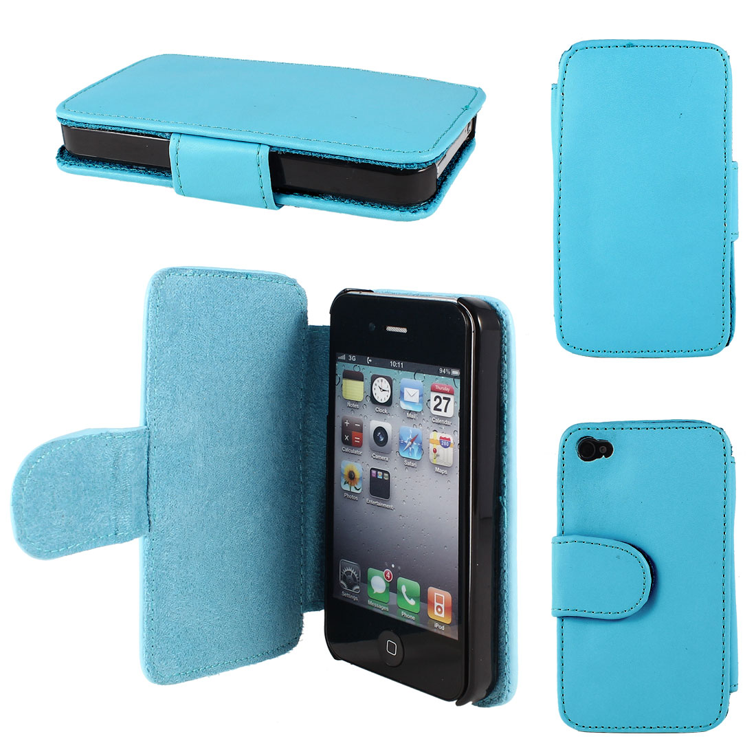 Teal Blue Faux Leather Magnetic Flip Case Cover Pouch for Apple iPhone 4 4G