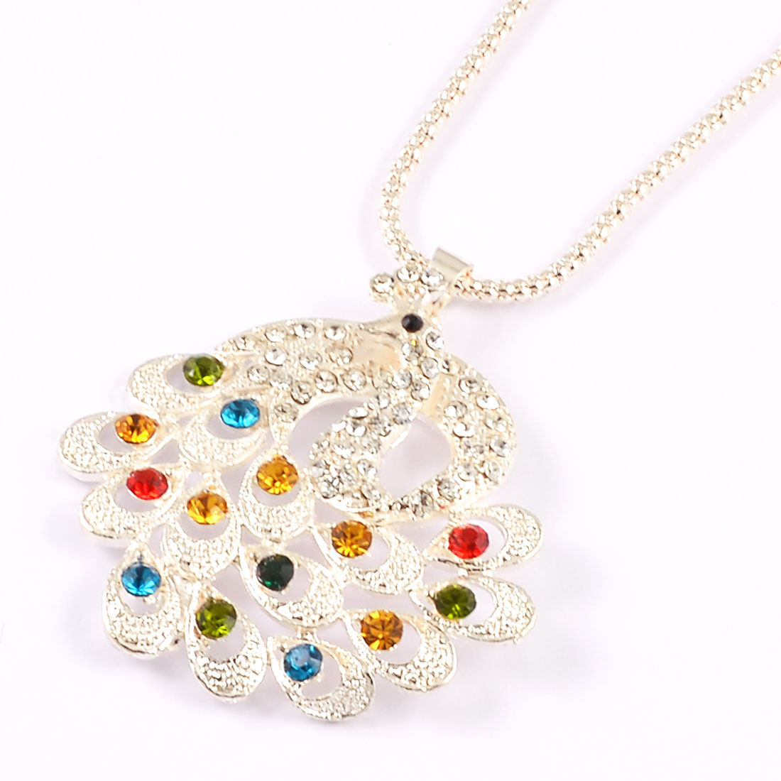 Lady Ladies Colorful Rhinestone Peacock Pendant Dangle Long Sweater Necklace