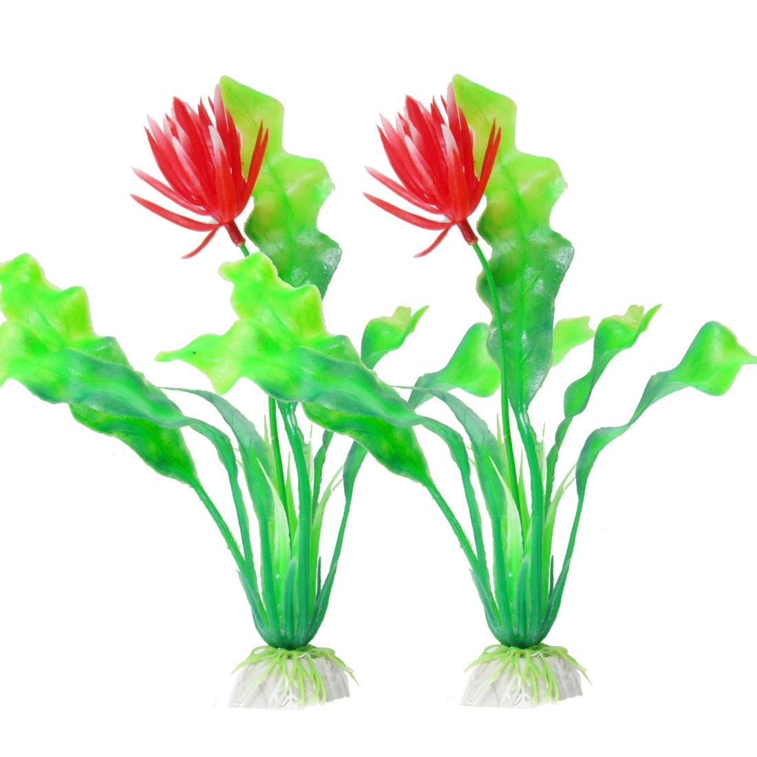 "2 Pcs Red Green Plastic Flower Plant Ornament 7.9"" for Aquarium Fish Tank"