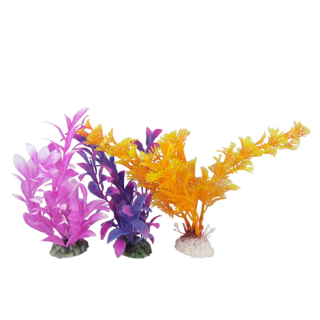 3 Pcs Manmade Orange Purple Plastic Plant Ornament for Aquarium Fish Tank