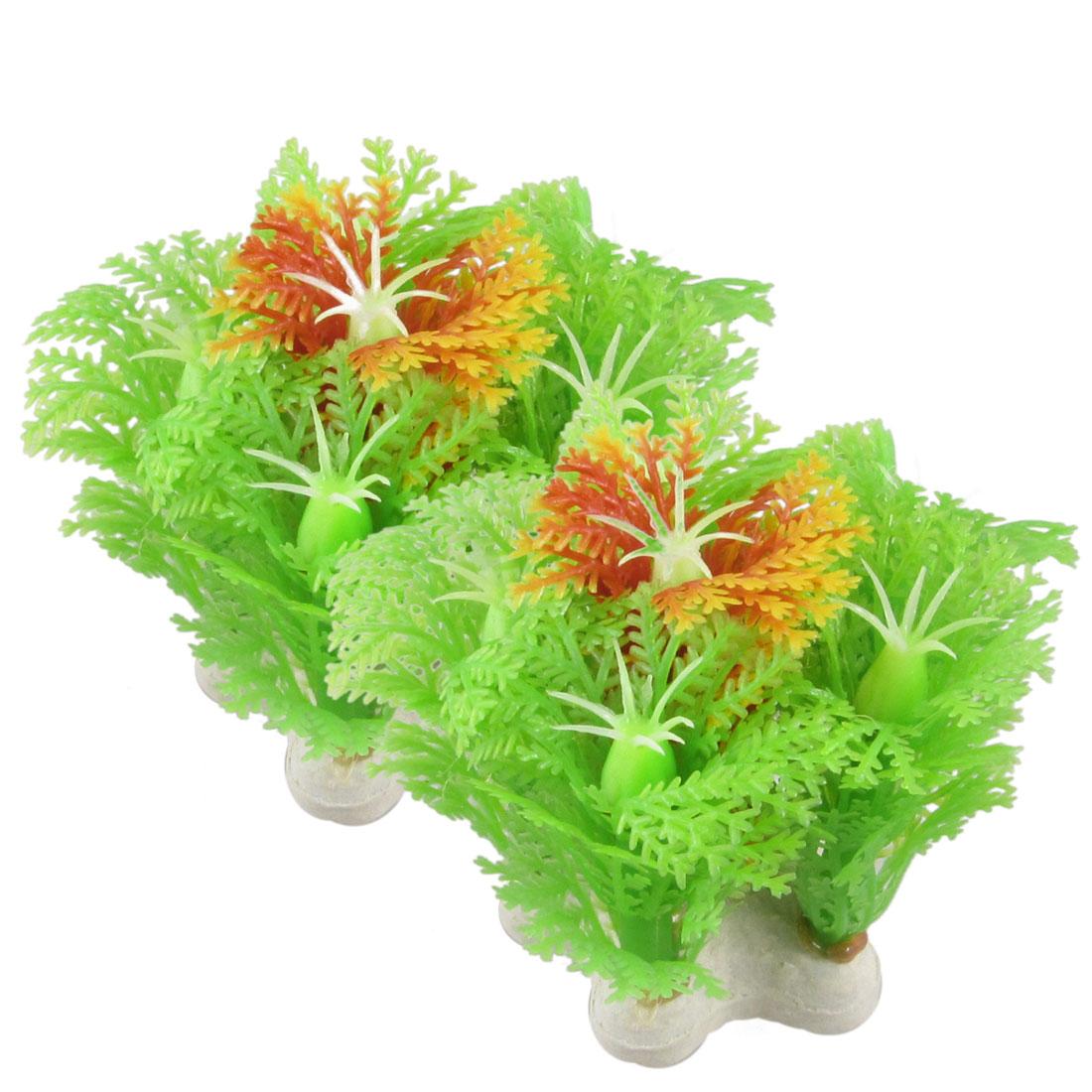 """2 Pcs Emulational Green Orange Plastic Plant Aquarium Fish Tank Decoration 2.2"""""""