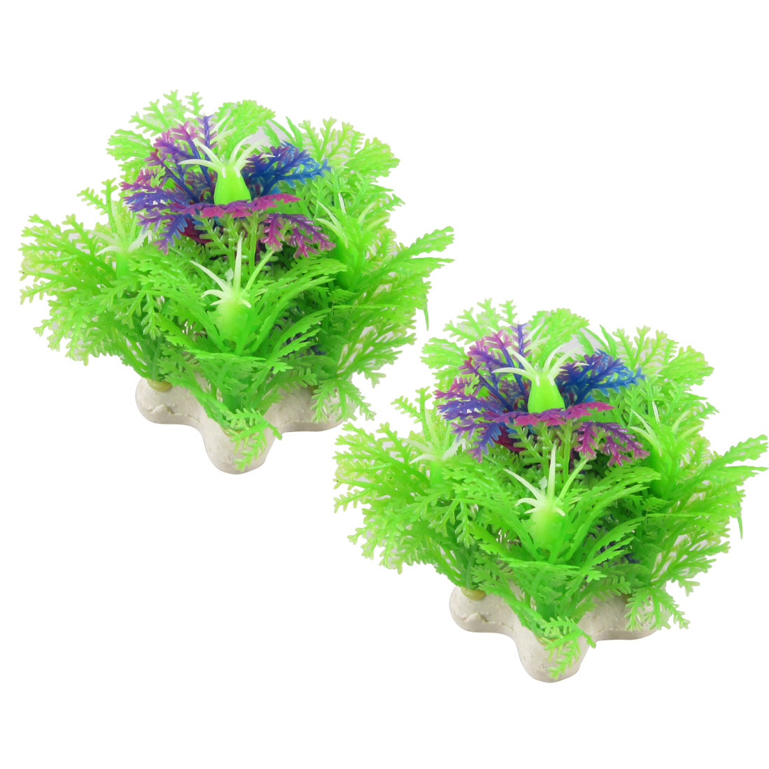"2 Pcs Light Green Purple Plastic Plant Aquarium Fish Tank Decoration 2.5"""