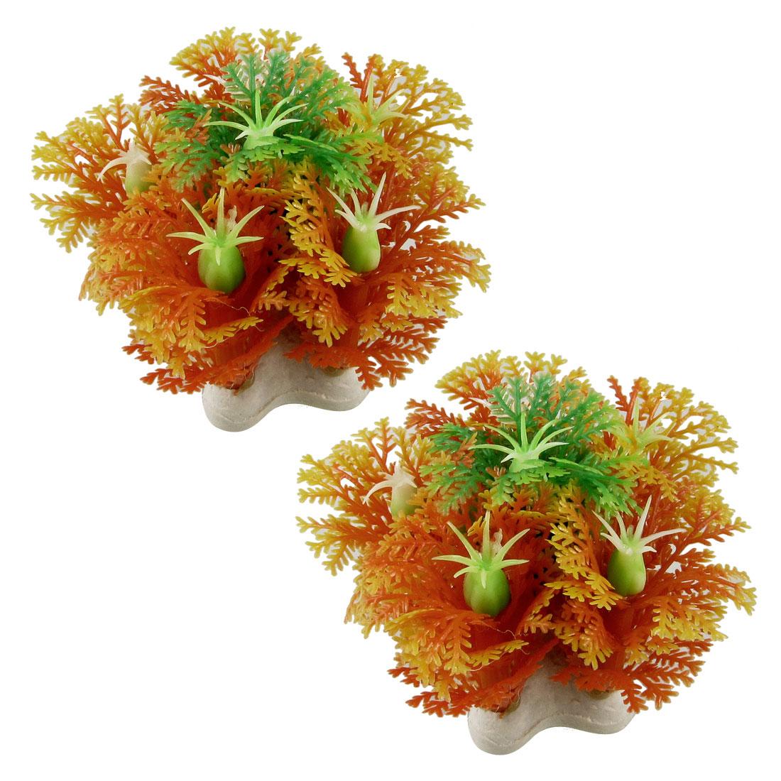 "Aquarium Fish Tank Aquascaping Orange Red Green Plastic Plant Grass 2.2"" 2 Pcs"