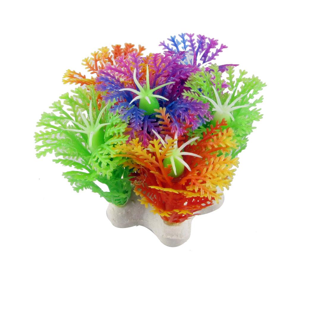 """Aquarium Fish Tank Underwater Aquascaping Green Purple Plastic Plant 2.3"""" 2 Pcs"""