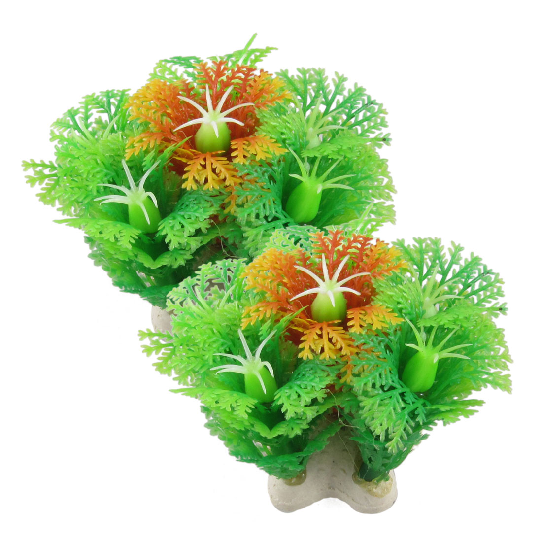 "2 Pcs Simulated Green Orange Plastic Plant Ornament 2.5"" for Aquarium Fish Tank"