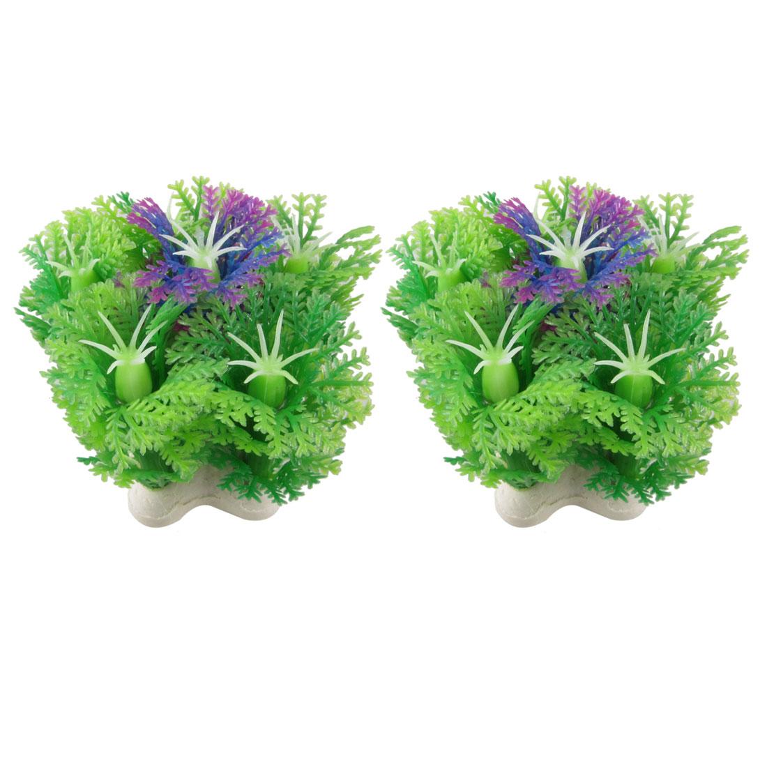 "2 Pcs Simulated Green Purple Plastic Plant Aquarium Fish Tank Ornament 2.4"""