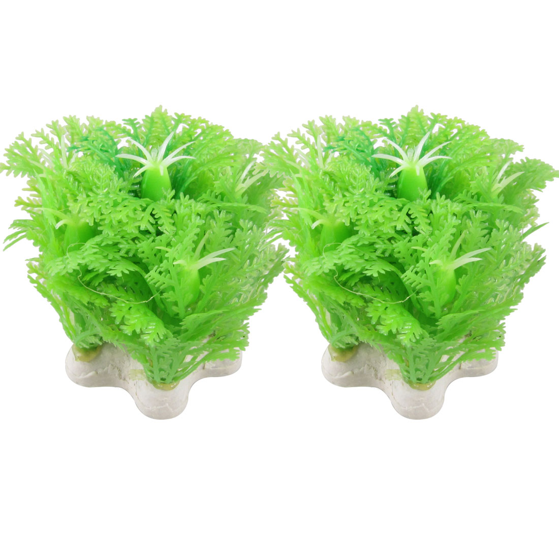 "2 Pcs Manmade Green Plastic Plant Grass Ornament 2.3"" for Aquarium Fish Tank"