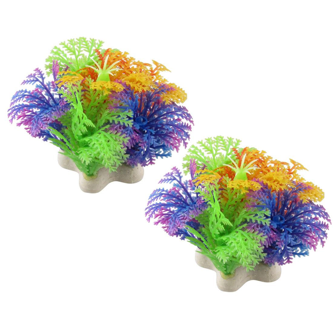 """Aquarium Fish Tank Underwater Aquascaping Colorful Plastic Plant 2.1"""" 2 Pcs"""
