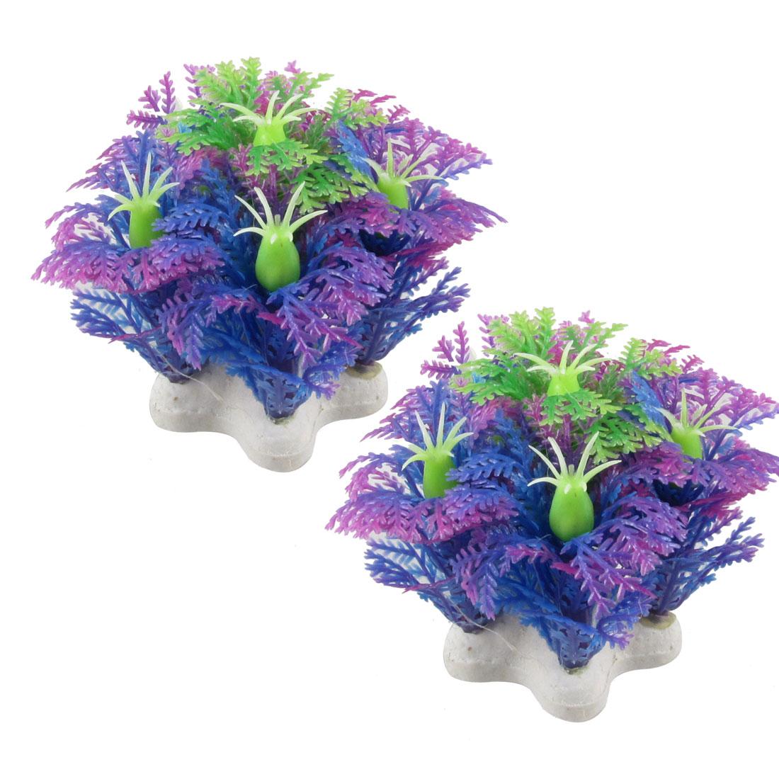 "Aquarium Fish Tank Aquascaping Emulational Purple Plastic Plant 2.3"" 2 Pcs"