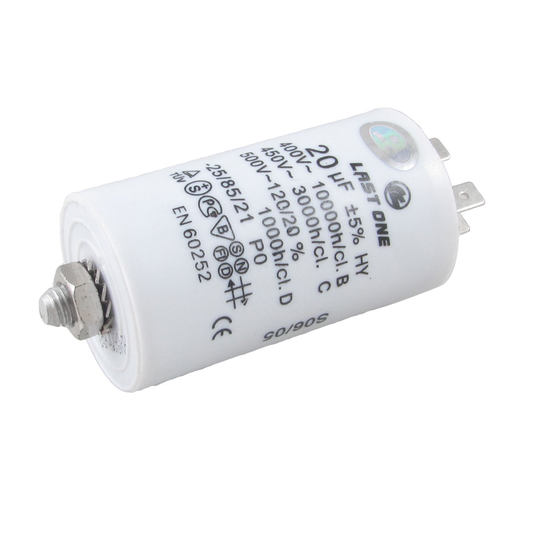 400V/450V/500VAC 20uF 8mm Male Dia. Motor Capacitor for Washing Machine