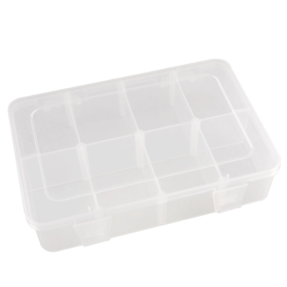 Clear Eight Compartments Hard Plastic Work Bin Component Box Case Holder