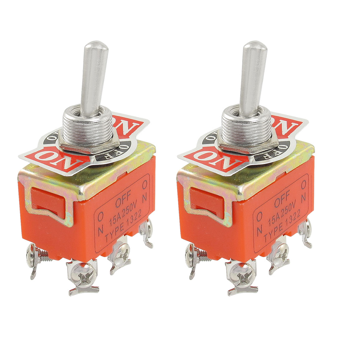 2 Pcs AC 250V 15A 3 Position 6 Screw Terminals DPDT Latching Toggle Switch