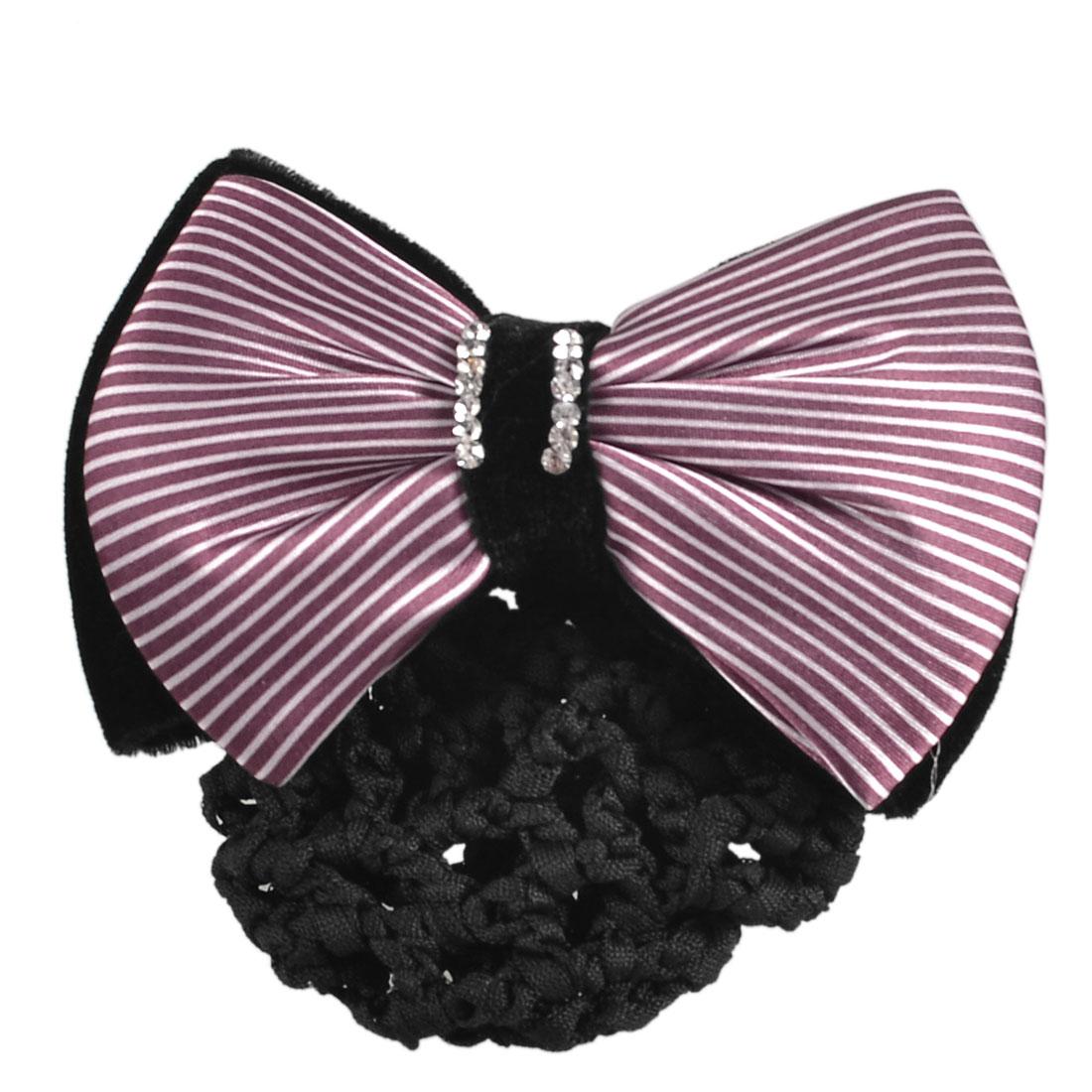 Red Black Rhinestones Striped Dual Velvet Bowtie Hairnet Berrette Hair Clip