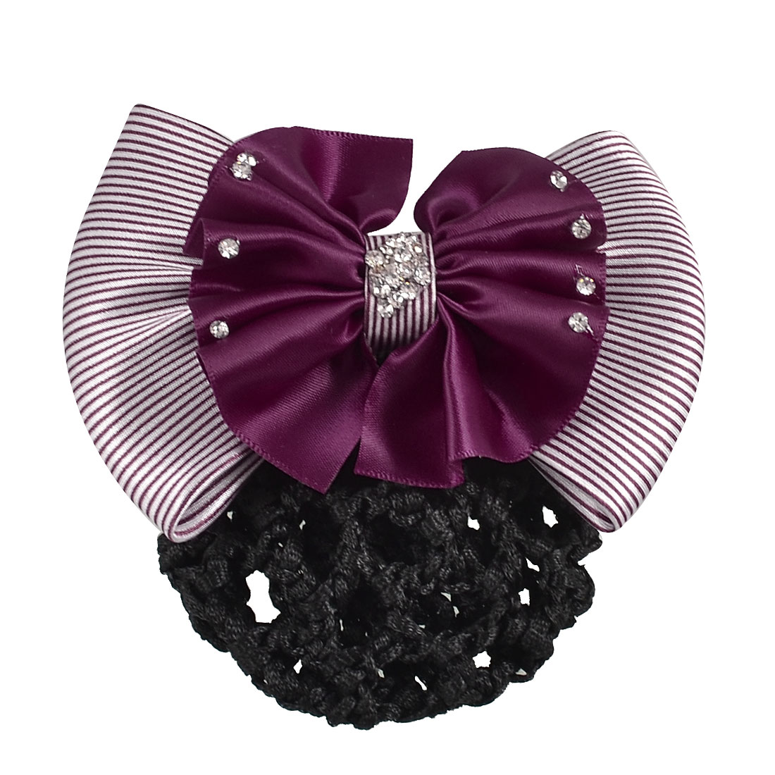 Women Dark Purple Stripes Double Layers Bowtie Snood Net Barrette Hairclip
