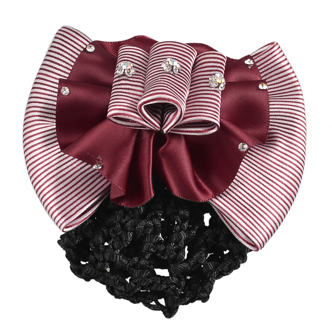 Lady Striped Bowknot Shape Faux Rhinestones Snood Net Barrette Hair French Clip