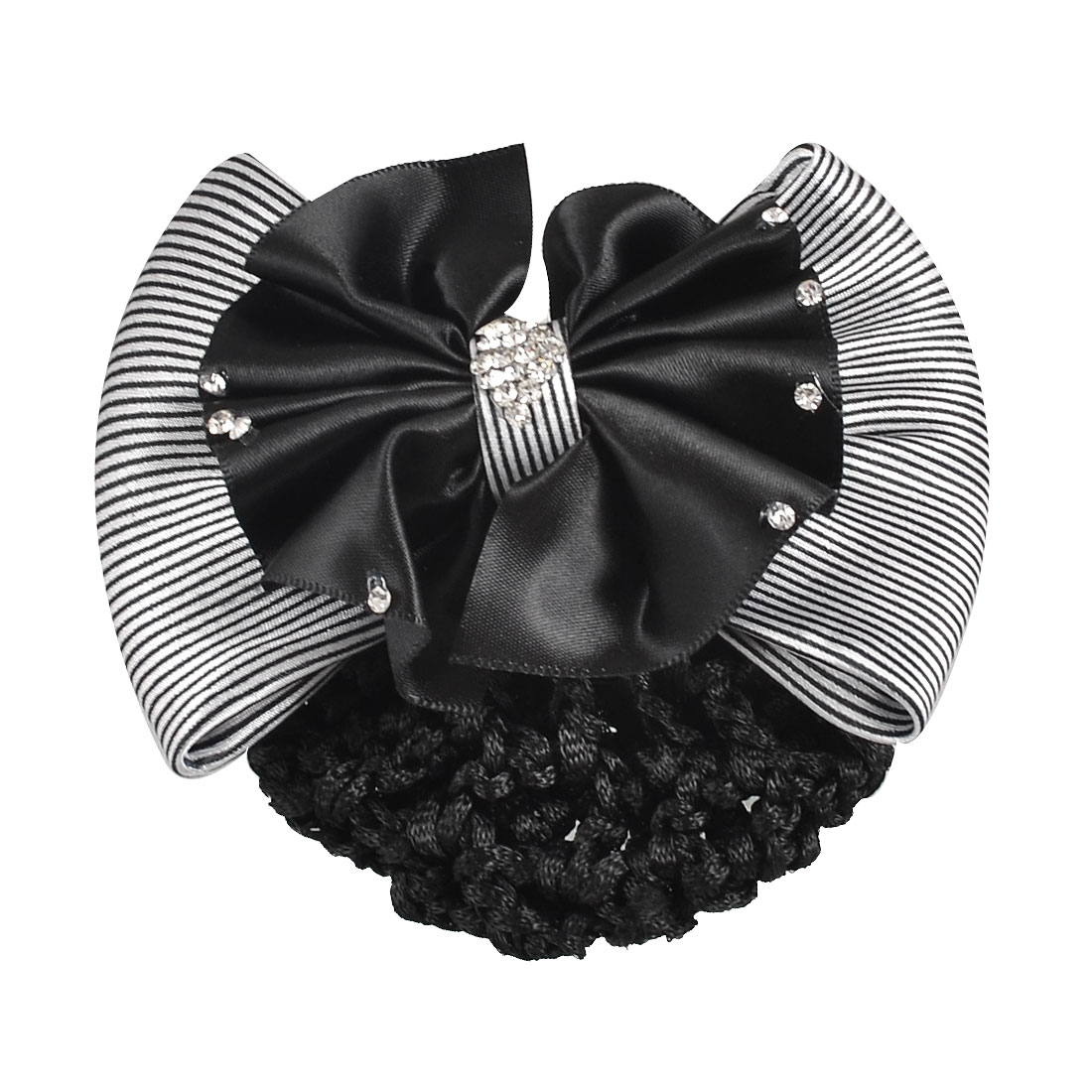 Lady Black White Rhinestone Striped 2 Tiers Bowtie Barrette Hair Clip Hairnet