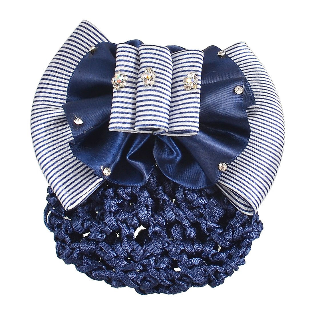 Faux Rhinestone Striped White Blue Ruched Bowknot Snood Net Barrette Hair Clip