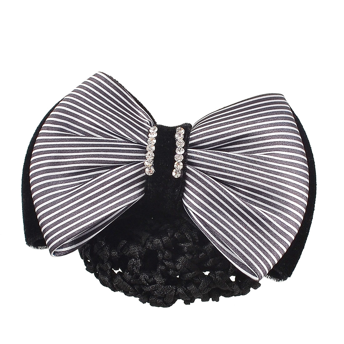 Black White Stripes Double Bowknot Bun Cover Barrette Hair Clip for Woman