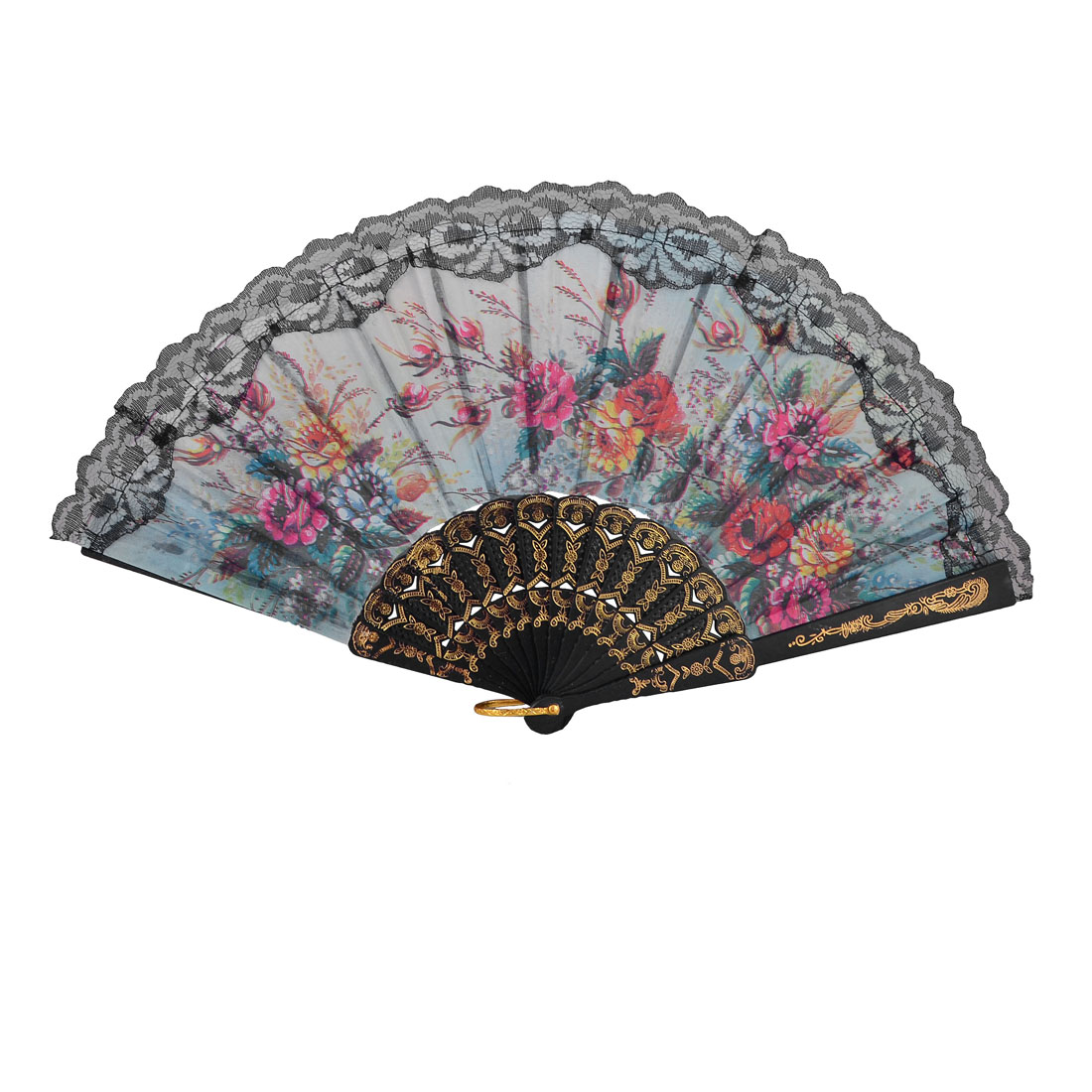 Black Lace Trim Colorful Flowers Pattern Plastic Embossed Ribs Folding Hand Fan