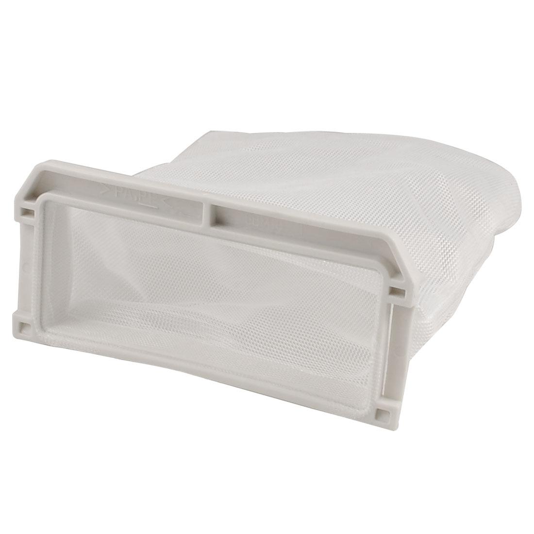 Washing Machine White Plastic Nylon Filter 11cm x 13cm Meshy Bag