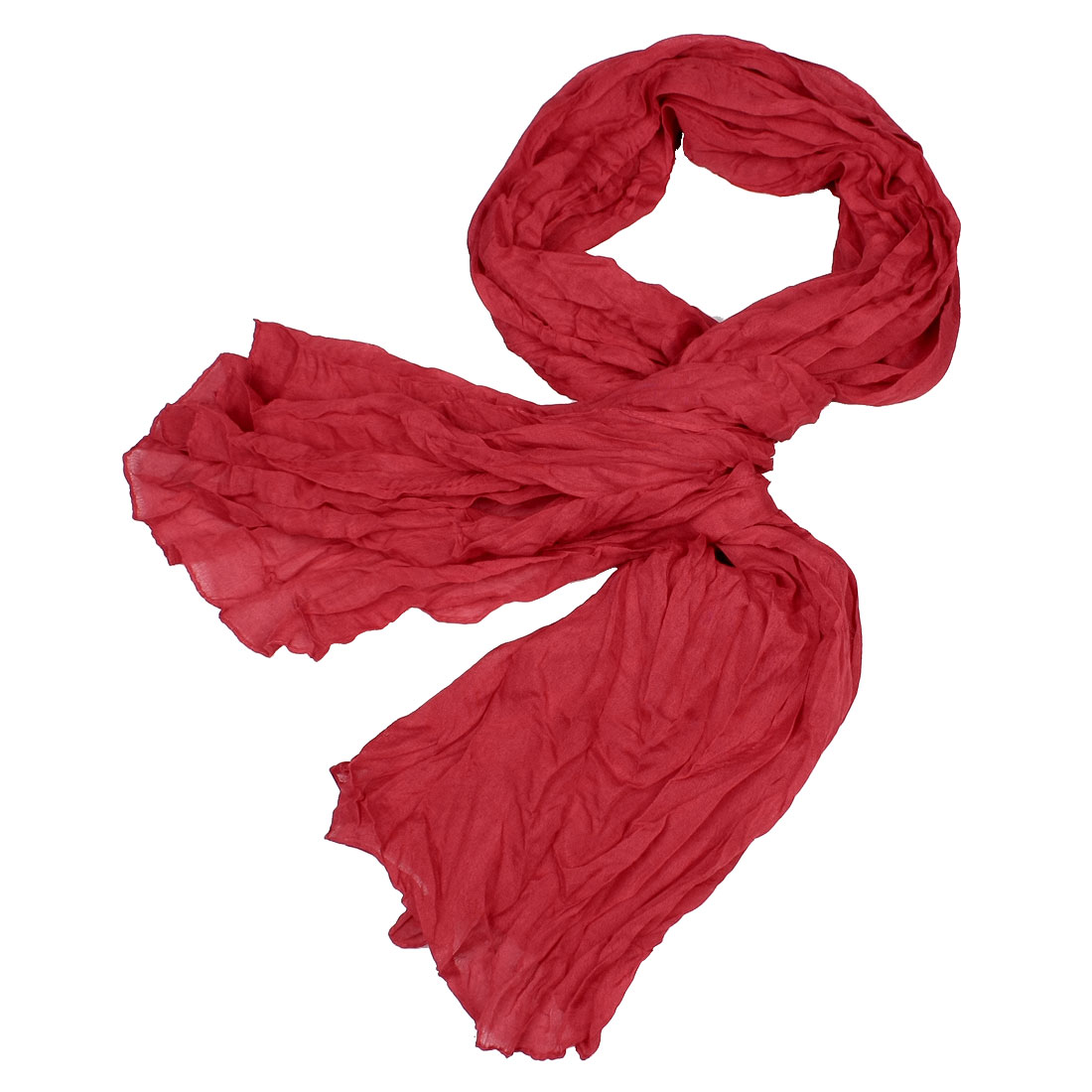 "Woman 74"" Length Rectangle Shape Ruffled Scarf Wrap Red"