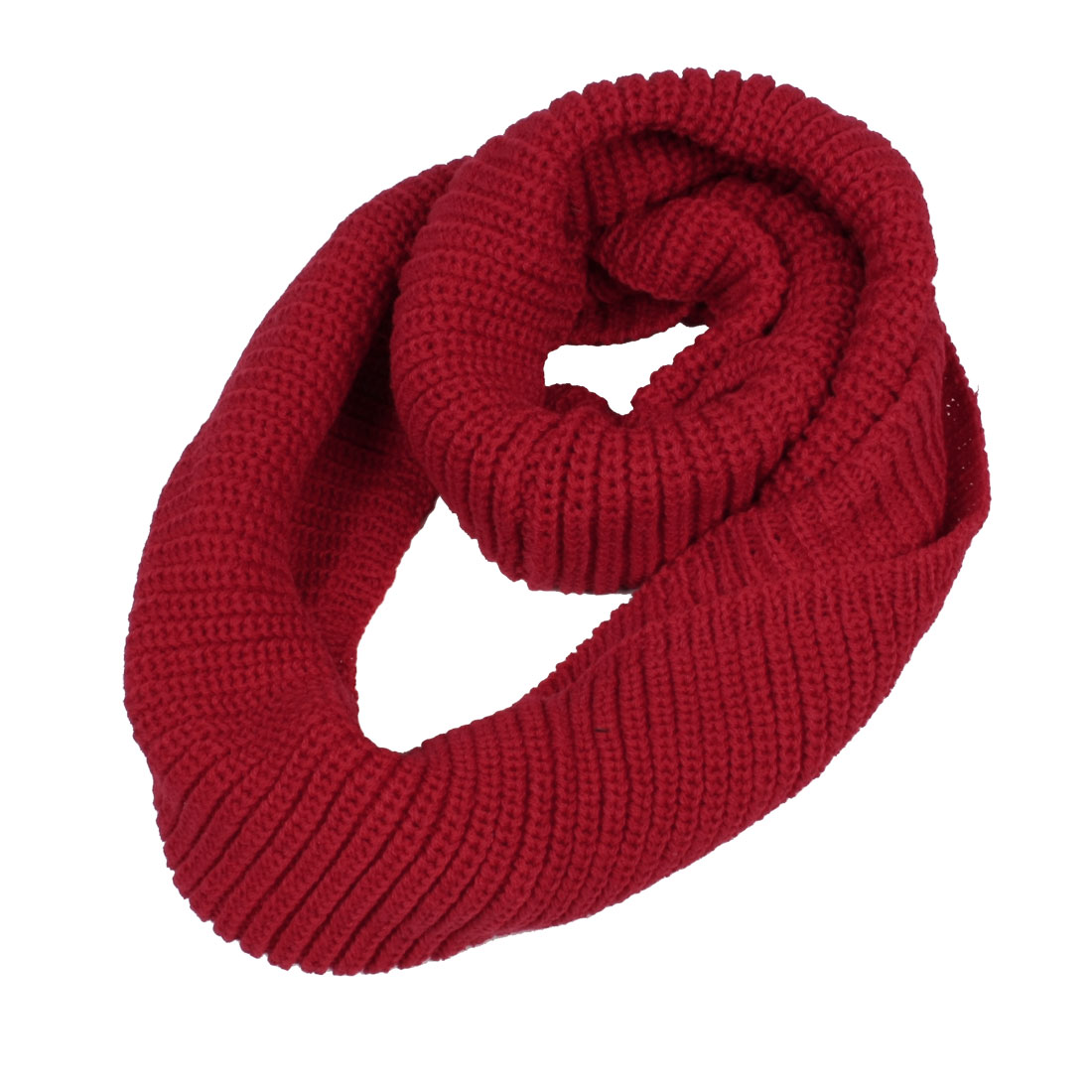 Lady Woman Knitting Neck Circle Scarf Shawl Wrap Loop Warmer Red