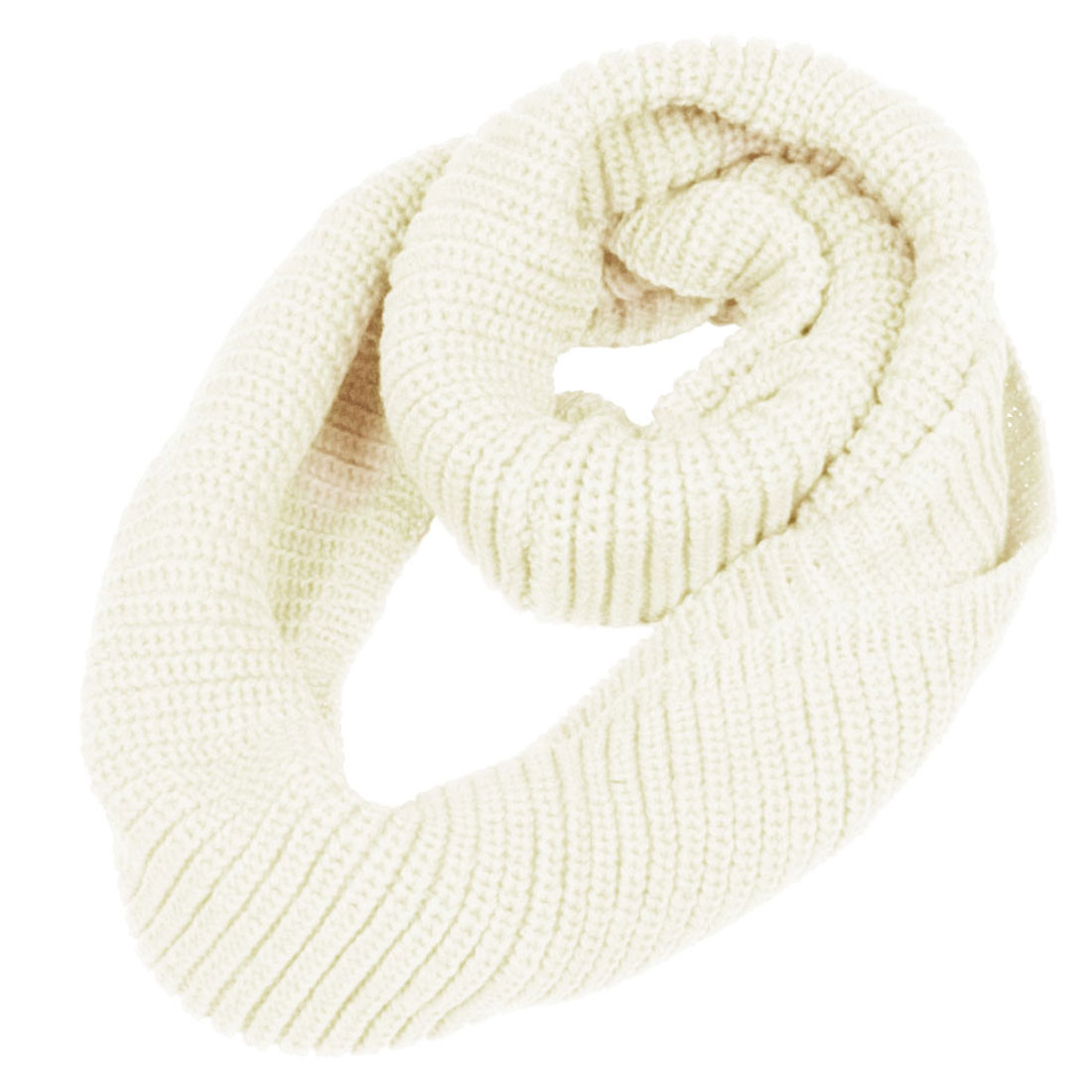 Winter Knitted Circle Loop Warm Neck Wrap Shawl Scarf White for Lady