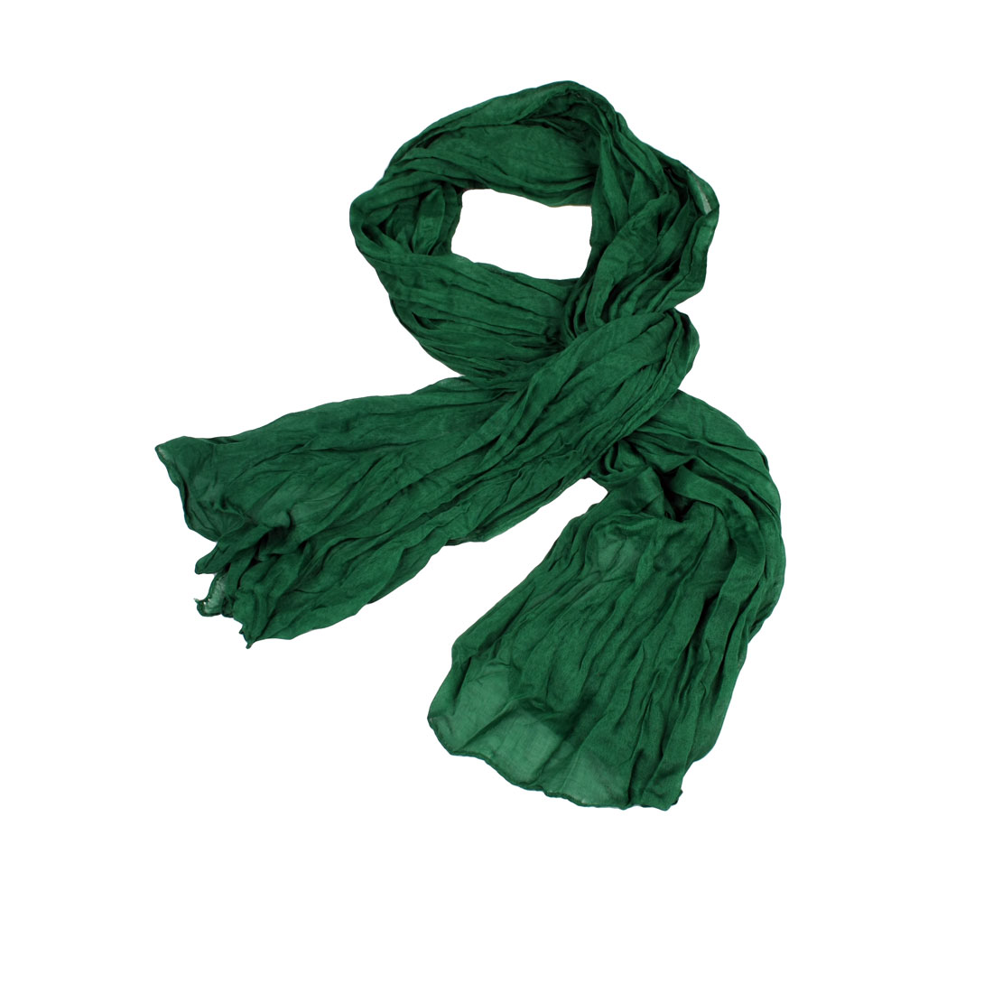 Green Wrinkle Ruffled Style Thin Scarf Wrap Shawl for Woman