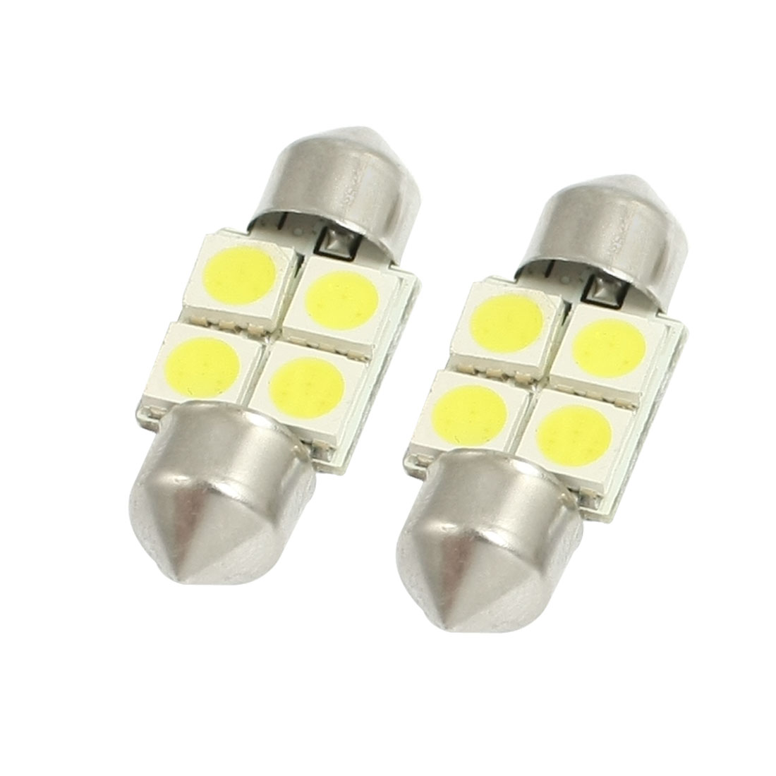 2 Pcs White 31mm 5050-SMD 4 LED Festoon Dome Light Lamp Bulb 12V