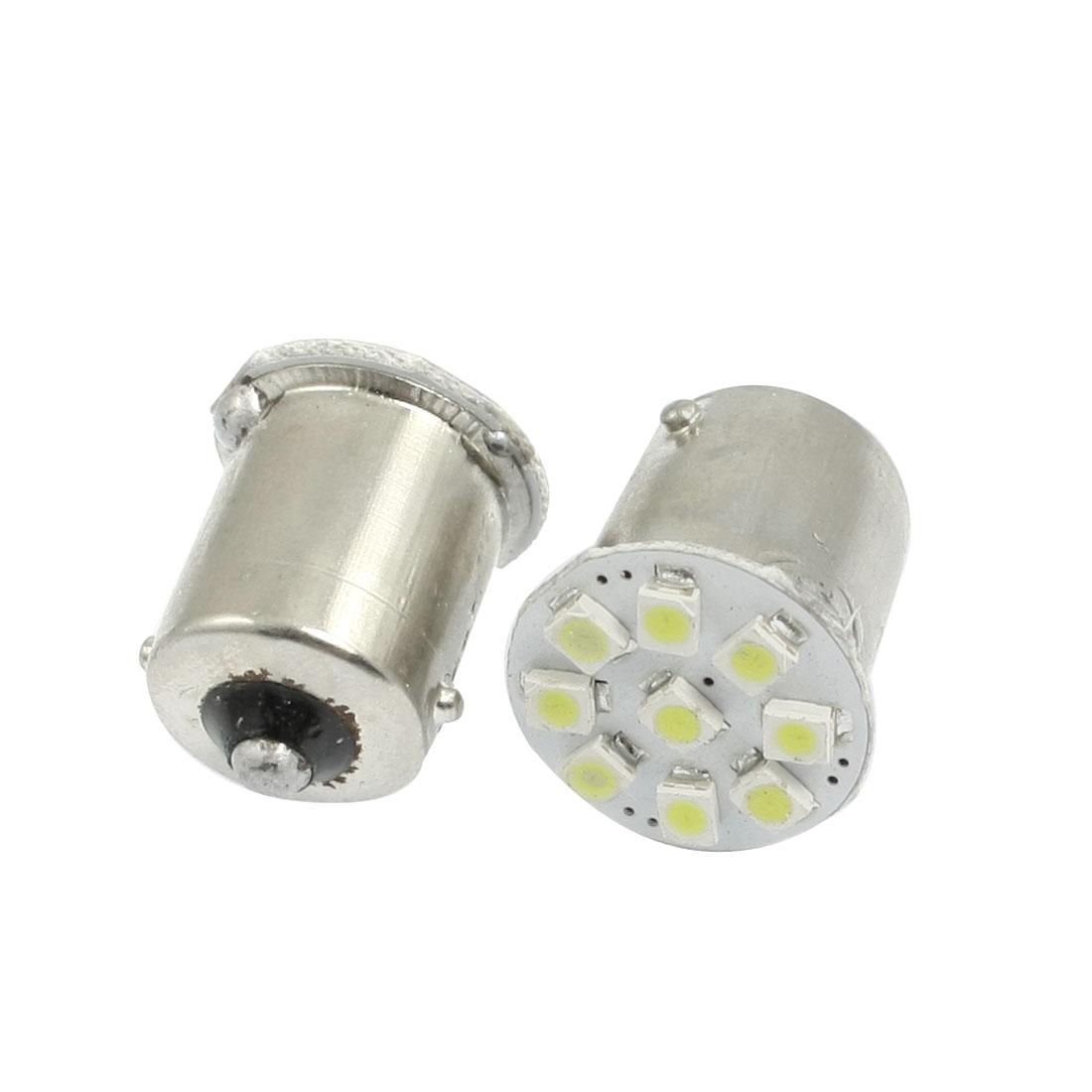 2 Pcs BA15S 1156 Car LED Bulb 9 1210 SMD Signal Turn Tail Light White