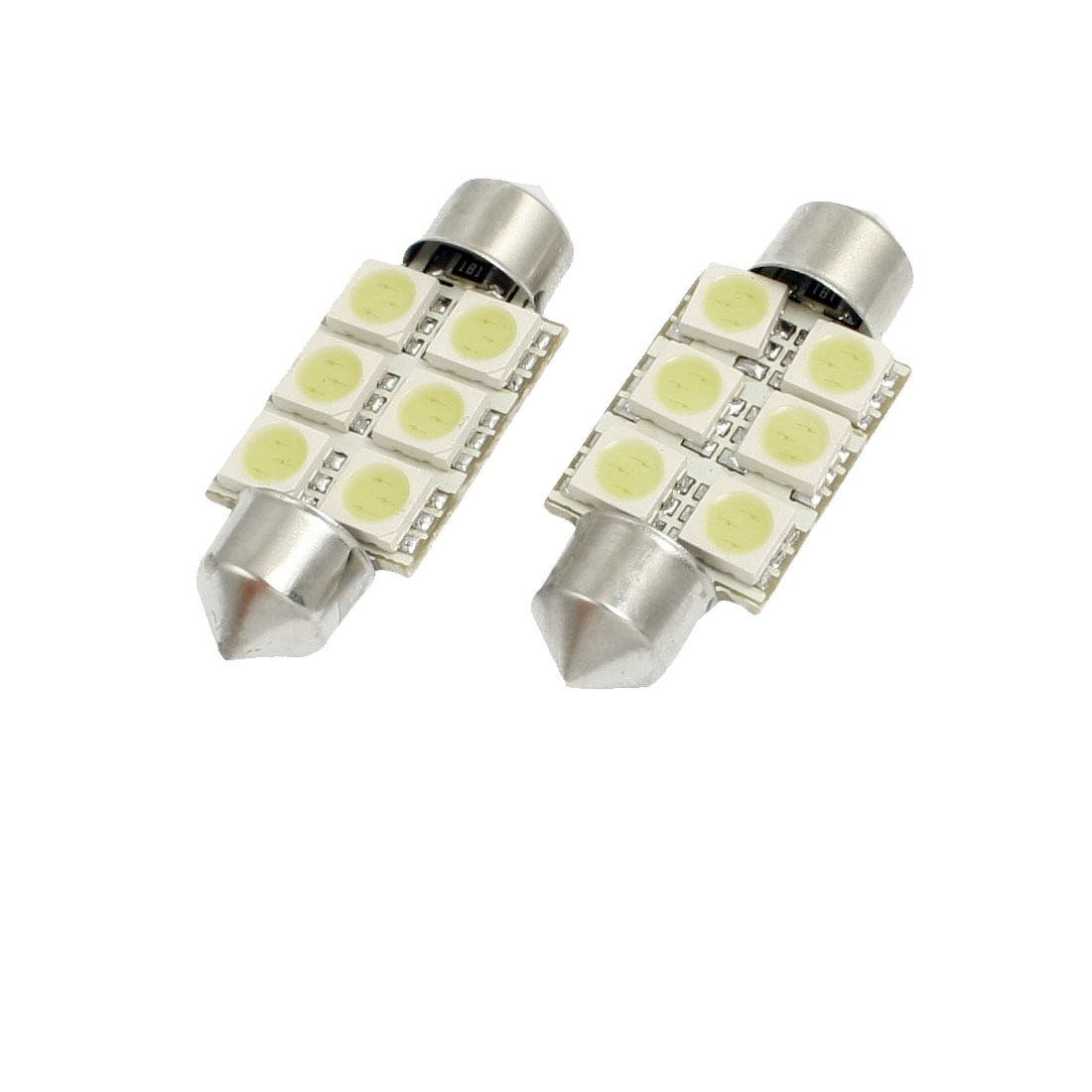 "2xWhite 5050-SMD 1.50"" 36mm 6418 6-LED Bulbs For Car Dome Lights"