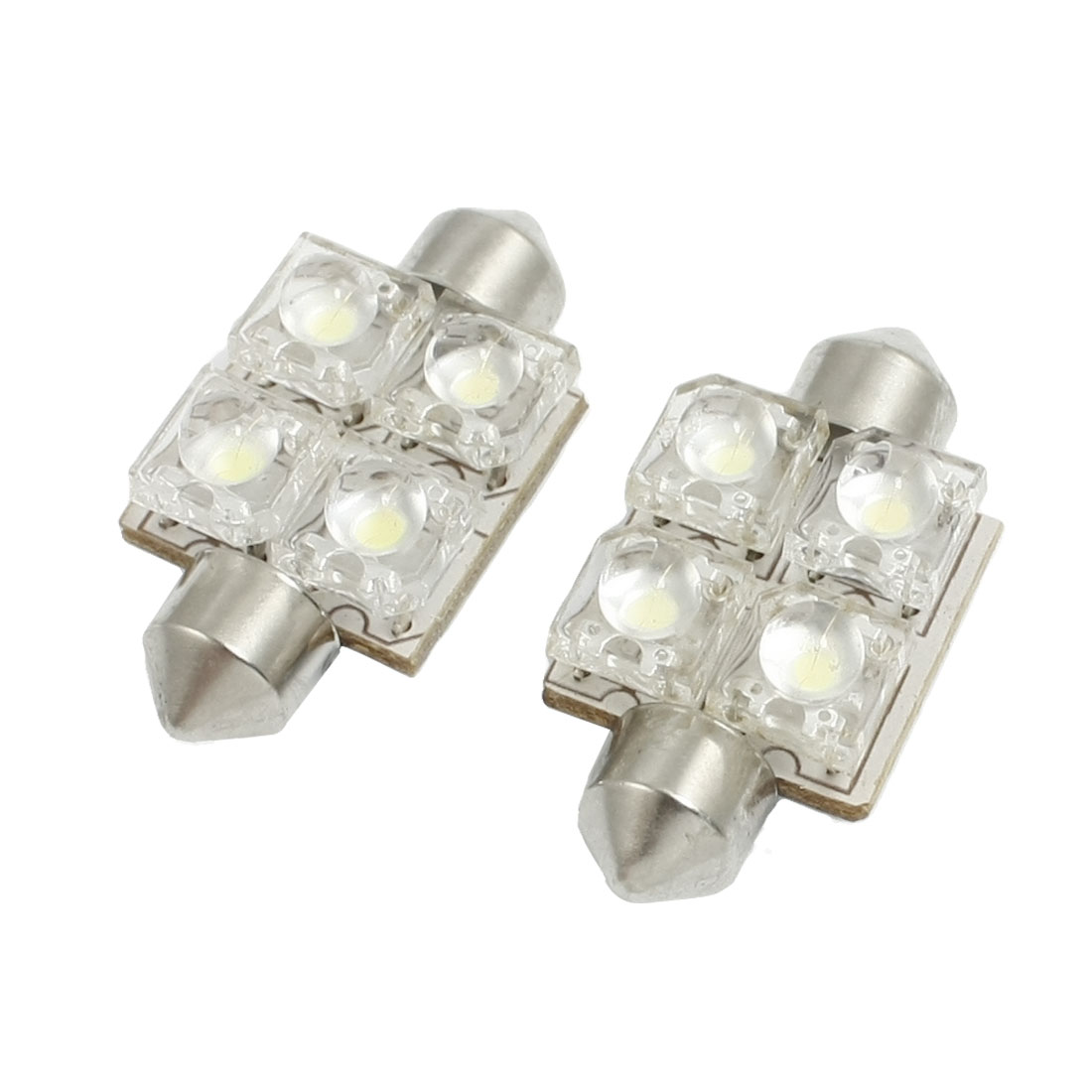 "2x 6418 36mm 1.42"" 4 LED Interior Dome Festoon Light Bulb"