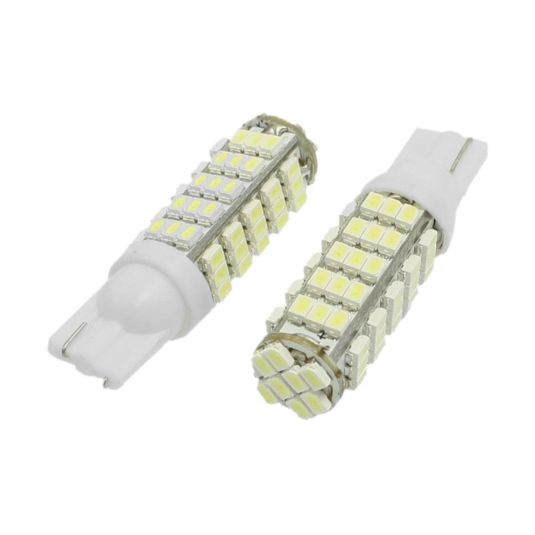 2 Pcs T10 Car White 1206 SMD 68 LED Inverted Side Wedge Light Bulbs