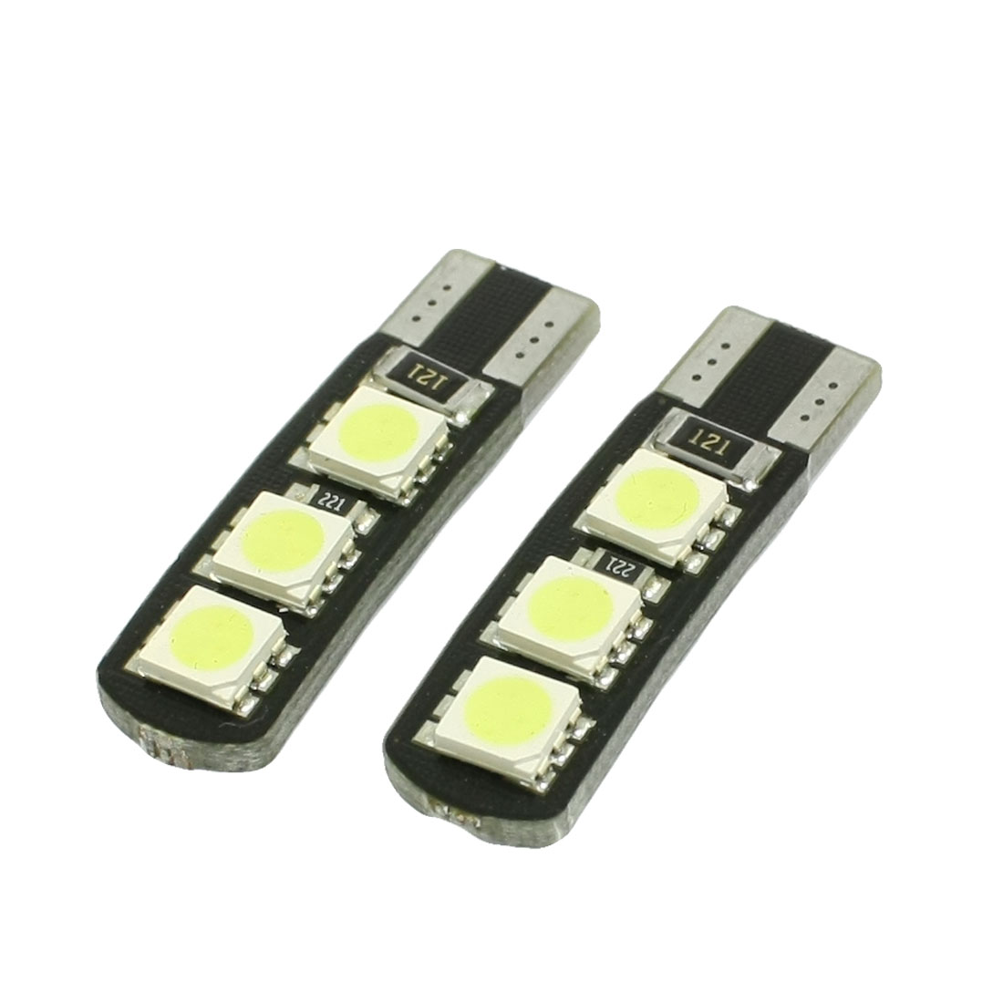 2 Pcs Car Canbus White T10 White 6 5050 SMD LED Turn Tail Light Lamp Bulbs
