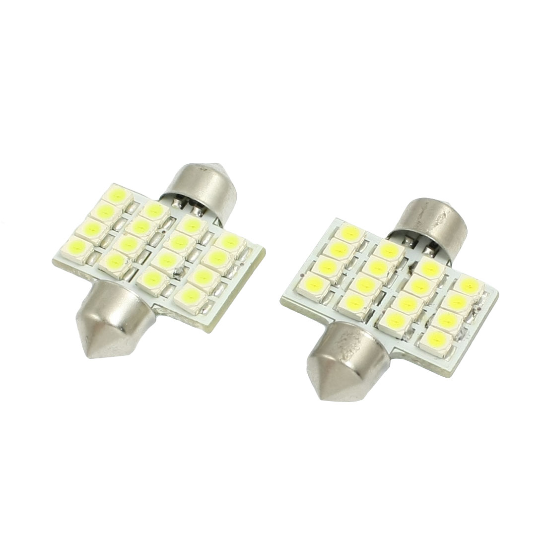 2 Pcs Car White 1210 3528 SMD 16-LED Festoon Dome Light Lamp DE3175 DE3021 Bulb 31mm
