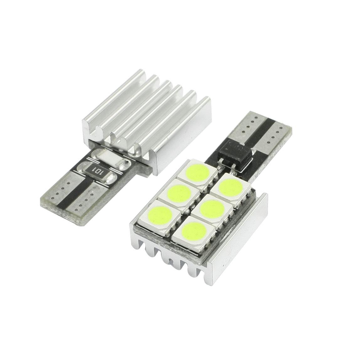 Vehicle Car Canbus White T10 White 6 5050 SMD LED Turn Tail Light Bulbs 2 Pcs