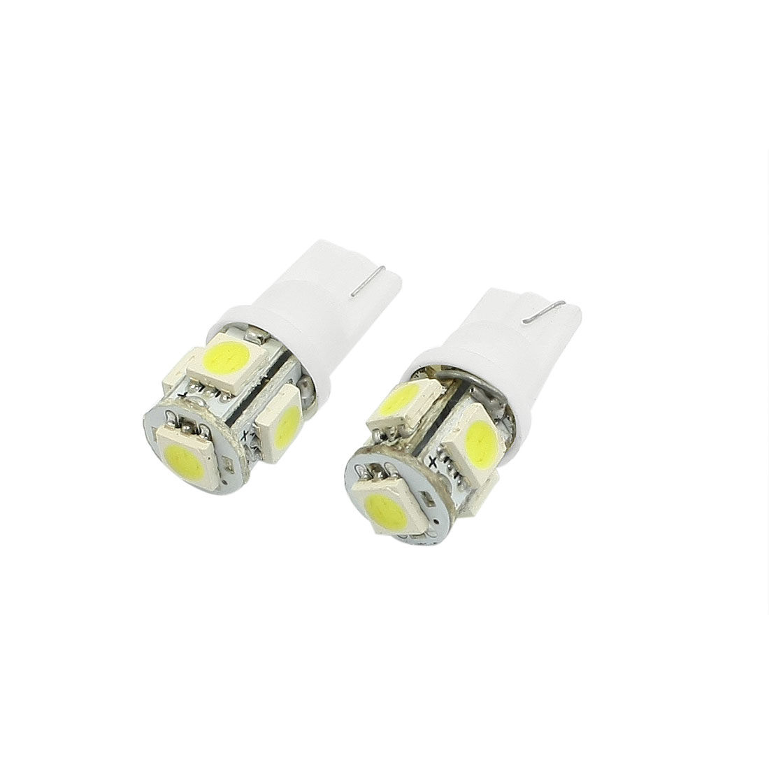 2 Pcs White Car T10 W5W White 5050 SMD 5 LED Bulb License Plate Light Lamp