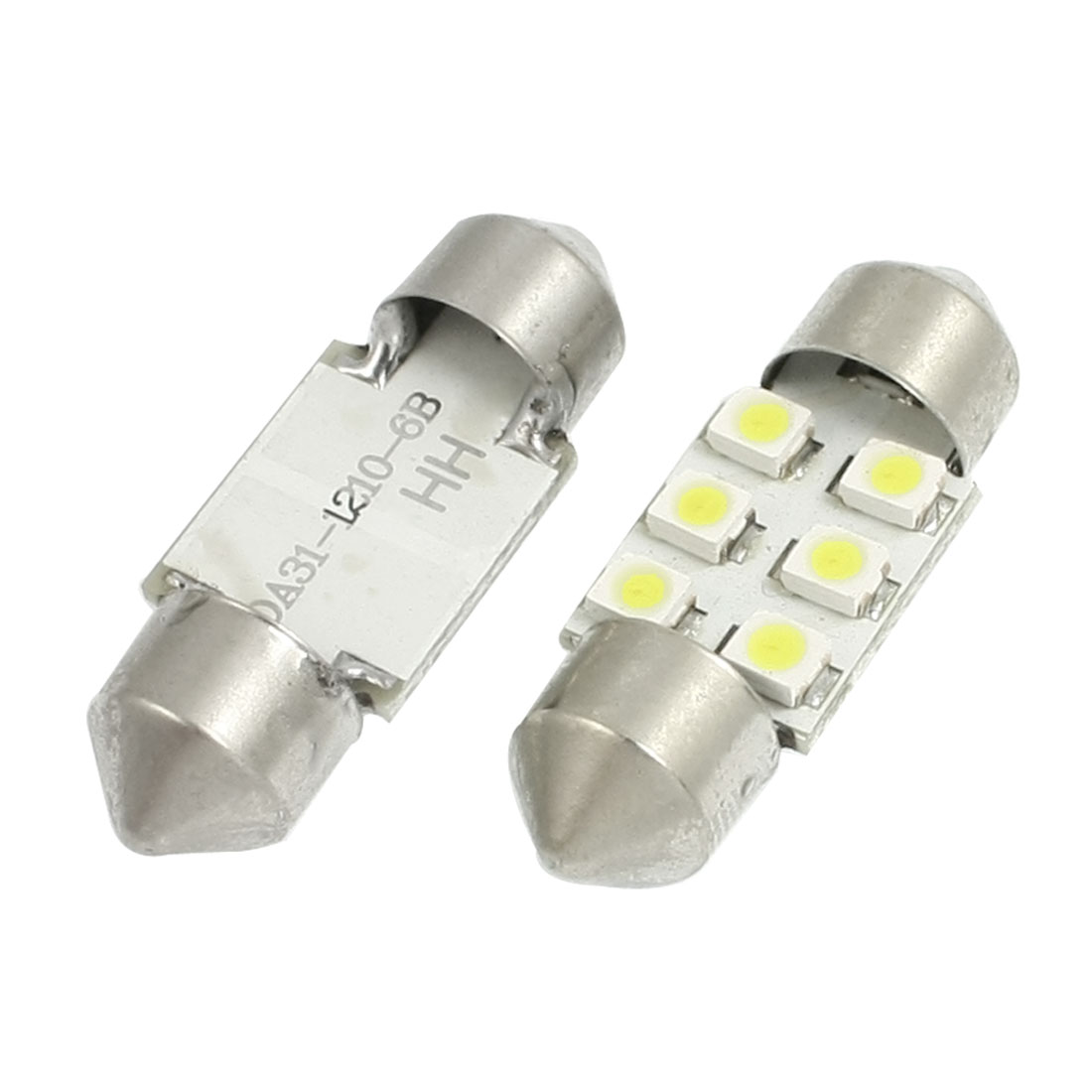 2 Pcs 12V White 31mm 6 SMD 1210 3528 Festoon LED Light DE3175 Bulbs