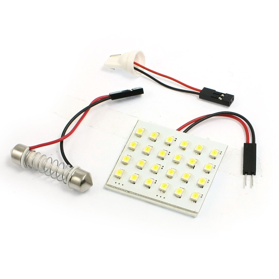 Car Auto White 1210 3528 SMD 24-LED Light Dome Lamp w T10 Festoon Adapter